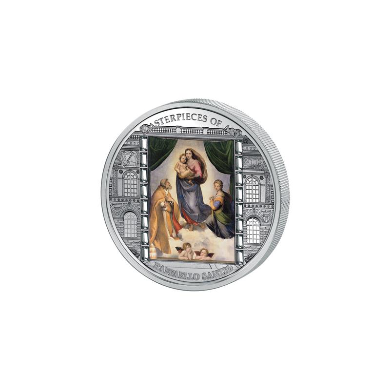 ostrova-kuka-2009-20-shedevry-iskusstva-sikstinskaya-madonna-rafael-santi-3-uncii-serebryanaya-moneta