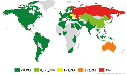 Мобильные зловреды: статистика по миру