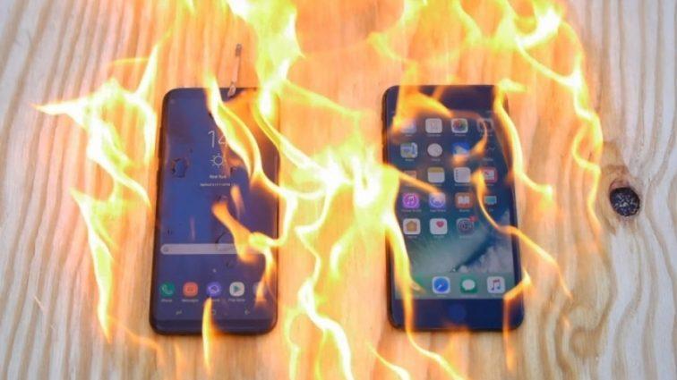 Galaxy S8 и iPhone 7 испытали огнем